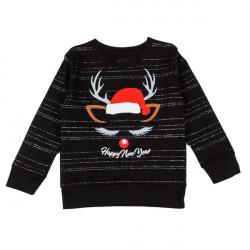 Джемпер для мальчика, черный, новогодний.