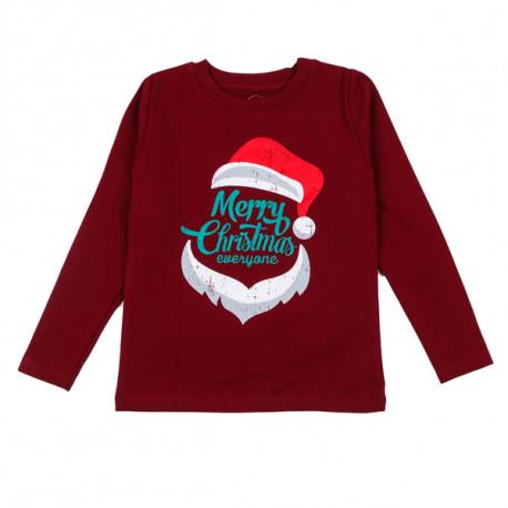 Джемпер детский, бордовый, новогодний. Santa..