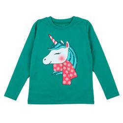 Джемпер для девочки, зеленый, новогодний. единорог