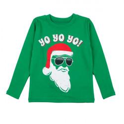 Джемпер для мальчика, зеленый, новогодний. Дед Мороз.