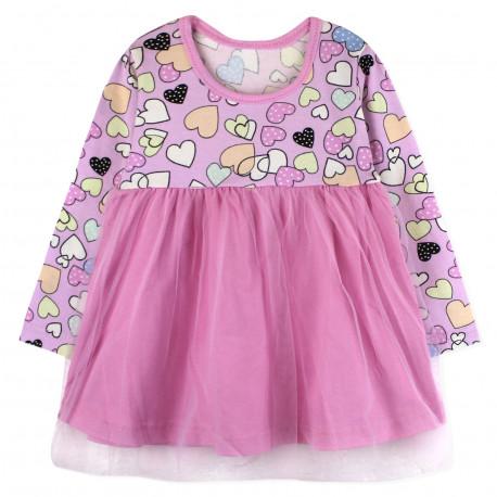 Платье для девочки, розовое. Сердечки