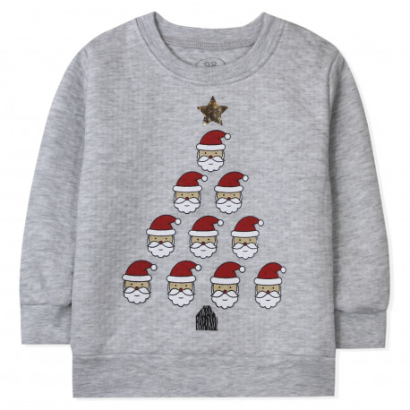 Детская кофта, серая. Санта Клаусы.
