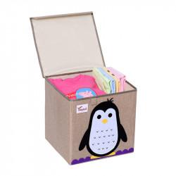 Складной ящик для игрушек с крышкой. Пингвин.
