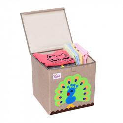 Складной ящик для игрушек с крышкой. Павлин.