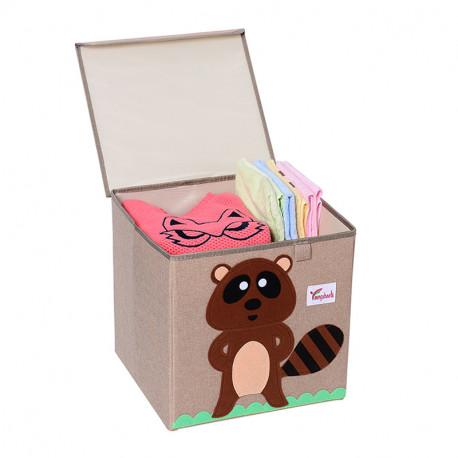Складной ящик для игрушек с крышкой. Енот.