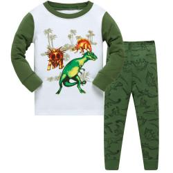 Пижама для мальчика, зеленая. Динозавр.