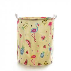 Корзина для игрушек, желтая. Фламинго и фрукты.