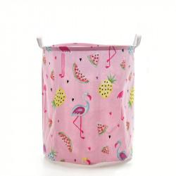 Корзина для игрушек, розовая. Фламинго и фрукты.