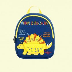 Детский рюкзак, синий. Желтый стегозавр. (S)