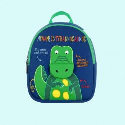 Детский рюкзак, синий. Зеленый крокодил. (S)