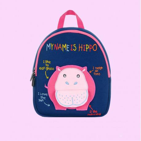 Детский рюкзак, синий. Бегемот.