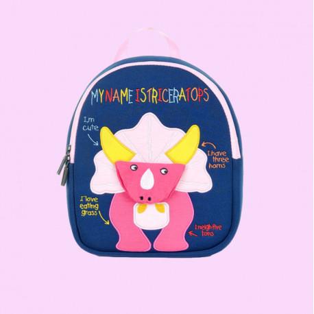 Детский рюкзак, синий. Розовый трицератопс.
