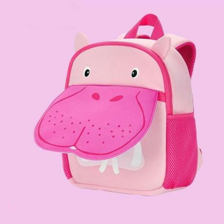 Детский рюкзак, розовый. Бегемот.