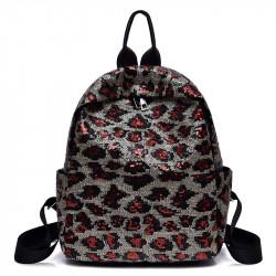 Рюкзак, черный. Красный леопард.