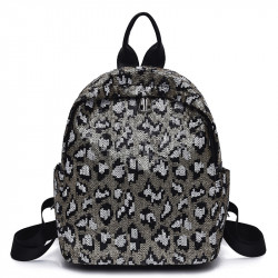 Рюкзак, черный. Серебряный леопард.