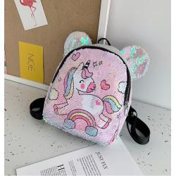 Рюкзак детский, с паетками, светло-розовый. Маленький единорожка.