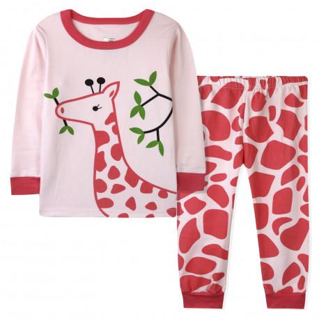 Пижама для девочки, розовая. Жирафик