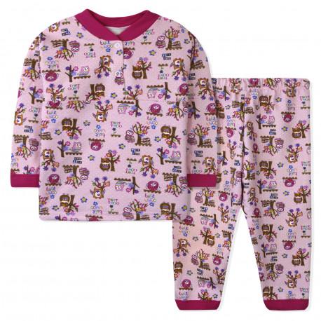 Пижама для девочки, розовая. Совушки.