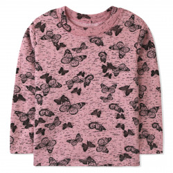 Утепленная кофта для девочки, розовая. Бабочки.
