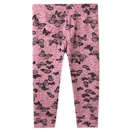 Утепленные леггинсы для девочки, розовые. Бабочки.