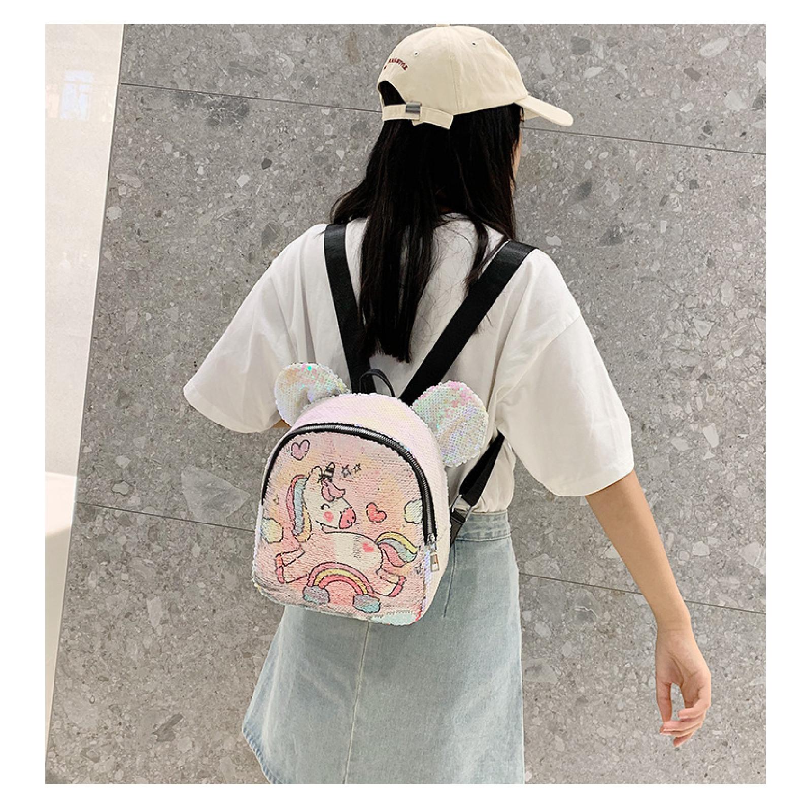 Рюкзак детский, с паетками, розовый. Единорог с радугой ...