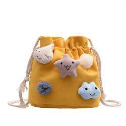 Сумка-мешок детская, желтая. Смайлики.