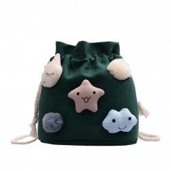 Сумка-мешок детская, зеленая. Смайлики.