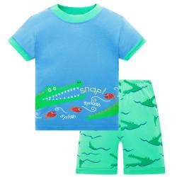 Пижама для мальчика, зеленая. Крокодил.