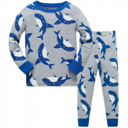 Пижама для мальчика, серая. Акулы.