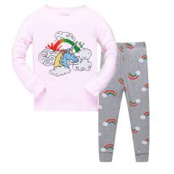 Пижама для девочки, розовая. Радуга и единорог.