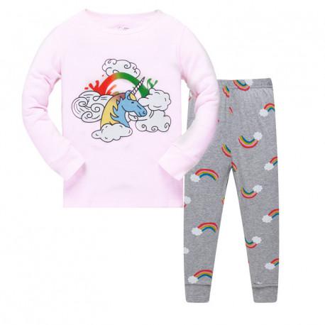 Пижама для девочки, розовая. радуга и единорог