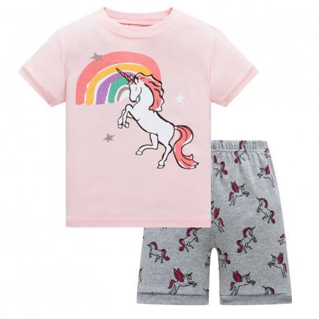 Пижама для девочки, розовая. Радуга