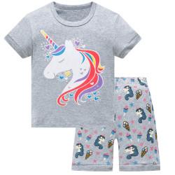 Пижама для девочки, серая. Единорог.