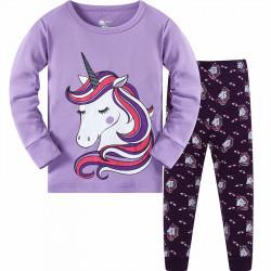 Пижама для девочки, фиолетовая. Единорог.