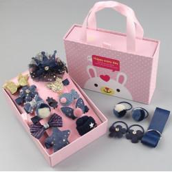Набор детских заколок. Синий 18 штук в подарочной коробочке.