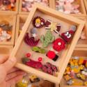 Набор детских заколок. Бардовый. Кактус. 10 шт в подарочной коробочке.