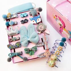 Набор детских заколок. Голубой Зайка 24 штук в подарочной коробочке.