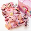 Набор детских заколок. Розовый Зайка 24 штук в подарочной коробочке.