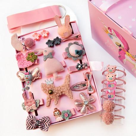 Набор детских заколок. Розовый Котик 24 штук в подарочной коробочке.