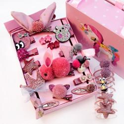 Набор детских заколок. Розовый Кролик 24 штук в подарочной коробочке.