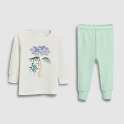Пижама для девочки, мятная. Заяц под цветочком.