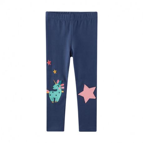 Леггинсы для девочки, синие. Единорог и звезда.