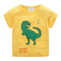 Футболка для мальчика, желтая. Зеленый динозавр.