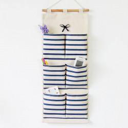 Подвесной органайзер с карманами, синий. Бантик. (6 кармана)