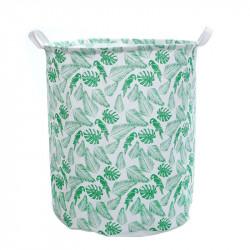 Корзина для игрушек, белая. Какаду и пальмовые листья.