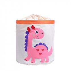 Корзина для игрушек на завязках, белая. Розовый дино.