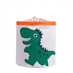 Корзина для игрушек на завязках, белая. Зеленый дино.