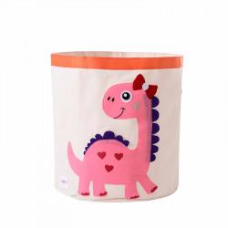 Корзина для игрушек, белая. Розовый Дино.