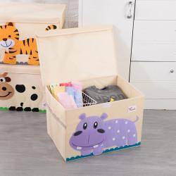 Складной ящик для игрушек с крышкой. Бегемот.