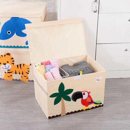 Складной ящик для игрушек с крышкой. Попугай Ара.